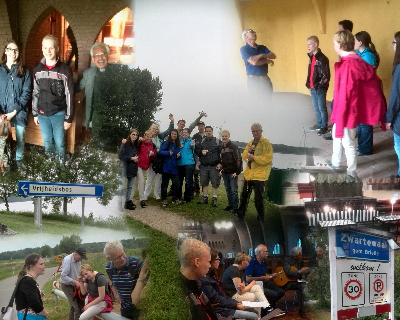 Collage voettocht van Heenvliet naar Brielle
